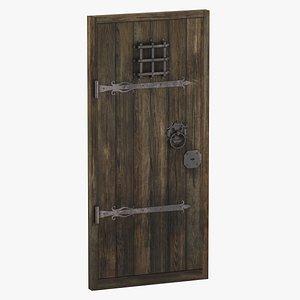 3D Medieval Wooden Door Single 01