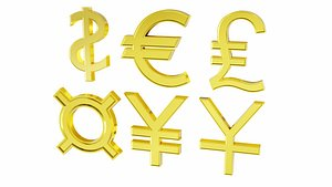 3D Currency signs set model