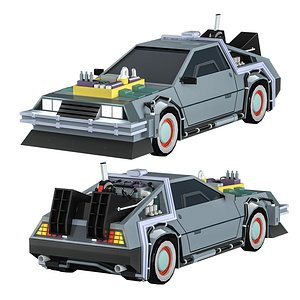 3D Car Back to the Future Low-poly