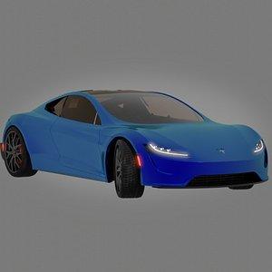 3D Blue Tesla Roadster Full 3d signed by Elon Musk Animated assembly model