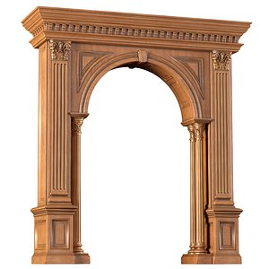 3D Arched doorway wood Arch in classic style