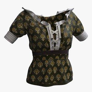 Woman cloth 11 - blouse Medieval 3D model