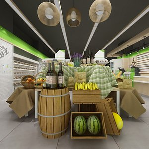 3D interior grocery store