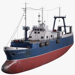 3D fishing trawler vessel model
