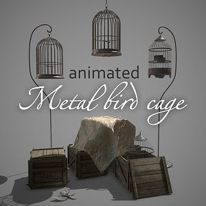 Metal bird cage animated pbr Low-poly 3D model