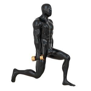fitness mannequin training dumbbells 3D model