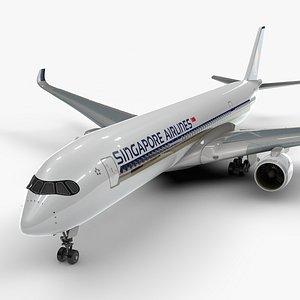 3D a350-900 singapore airlines l1117 model