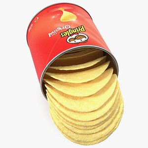 Opened Pringles Potato Chips Small Can 3D model