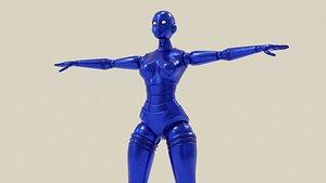 3D blue robot woman
