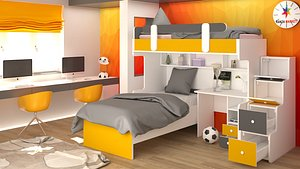 3D kids room design scene