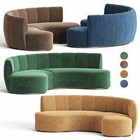 Contemporary Curved Velvet Sofa