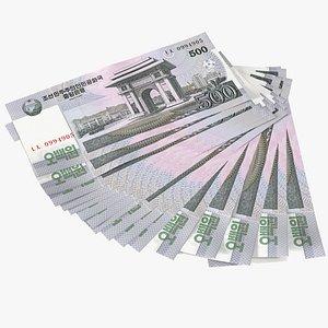 3D Fan of North Korea 500 Won Banknotes