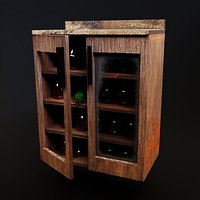 Kitchen wood cabinet with bottles