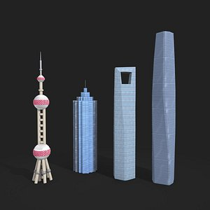 3D low poly shanghai pearl tower and skyscraper model