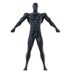 3D fitness mannequin big muscles model