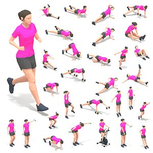 exercise woman 3D model