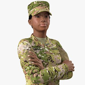 african american female soldier 3D