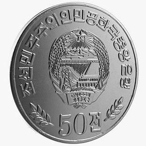3D model North Korea 50 Chon Coin 2002