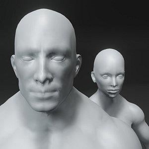 3D Superhero Muscular Human Male Female Body Base Mesh 3D Model 20k Polygons model