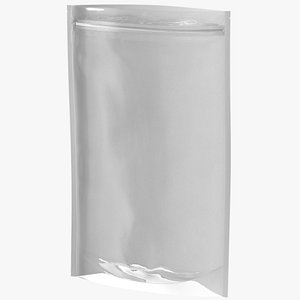 3D Zipper White Paper Bag with Transparent Front 400 g Open Mockup