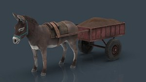 3D DONKEY WITH CART