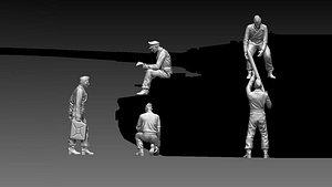 German tank crew ww2 3D model