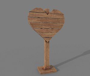 Signpost PBR Heart Shape 3D model