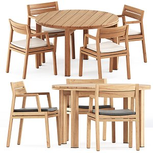 3D Costes chair and Table Kos Teak model