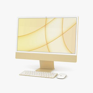 3D Apple iMac 24-inch 2021 Yellow model