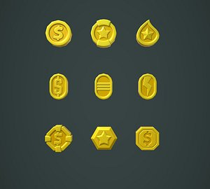 Coins Stylized Pack 3D