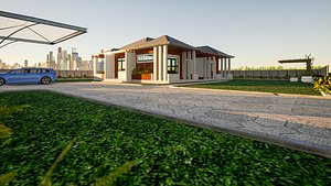 3D 3 Bedroom Modern Bungalow With Interiors and Landscaping