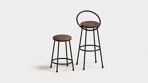 Realistic bar chairs brown and  black 3D model