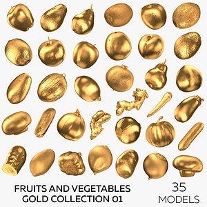 3D Fruits and Vegetables Gold Collection 01 - 35 models model
