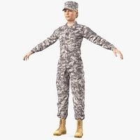 Female Soldier Military ACU Fur Rigged