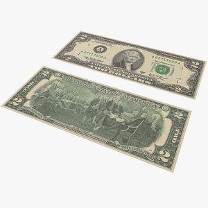 3D Money Two Dollar With Pbr 4K 8K model