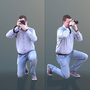 man taking photo 3D model
