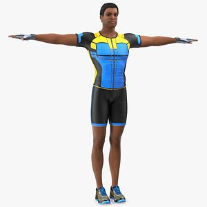 3D light skin black sportsmen model