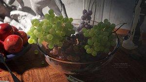 C4D octane Super realistic Still life of fruit painting grape 3D model