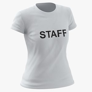 Female Crew Neck Worn White Staff 03 3D model