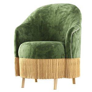 Amanda velour dining chair 3D model