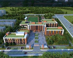 School modern school high school football field track field bird eye view Chinese school overall s 3D model