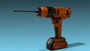 low-poly drill 3D model