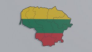 Political Map of Lithuania 3D