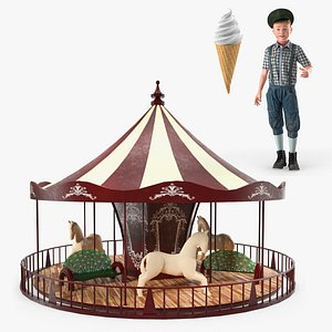 Vintage Boy with Amusement Park Fun Collection 3D