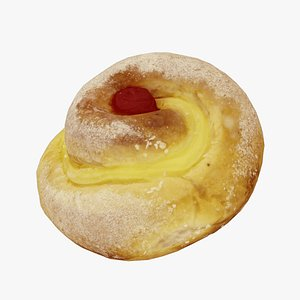 Custard Pinwheels with Cherry - Real-Time 3D Scanned 3D model