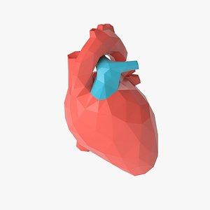 Stylized low poly human heart 3D