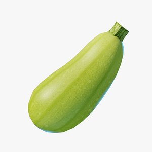 3D model Cartoon Zucchini