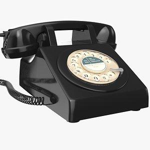3D Black Rotary Phone