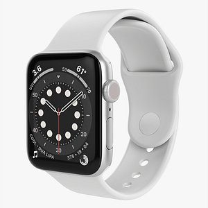 3D Apple Watch Series 6 silicone loop silver