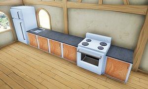 stylized kitchen cupboard 3D model